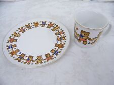 Vintage Teddy Bear Plate and Coffee Mug