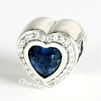 Authentic Pandora Silver 925 ALE Royal Blue Sparkling Love Charm 797608