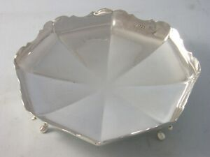 1940 George VI Silver Deco Heavy Gauge octagonal Cake Stand 308 grams Viner