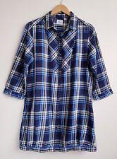 Cuadros azules UNIQLO cheque de Franela ligera Túnica Camisa Vestido Talla L UK 16