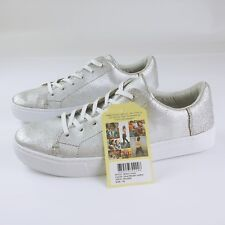 ce61b9bd268 TOMS Silver Metallic Leather Lenox Sneakers Shoes Style 10010839 NIB Size 10