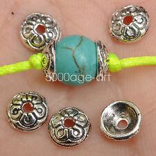 100Pcs Tibetan Silver Flower Loose Spacer Beads Caps Lots bead cap 2x7MM  A3553