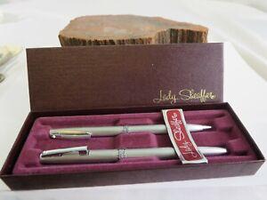 Vintage Lady Sheaffer Steel Ballpoint Pen Mechanical Pencil NIB Set CT2