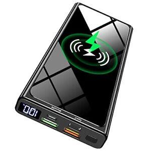 Batterie Externe sans Fil Chargeur Rapide Portable Power Bank Smartphone Qi USB