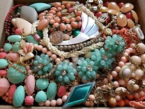 HUGE 13 lbs Vintage Mod Wearable Jewelry LOT Necklaces Bracelets Brooches Rings+
