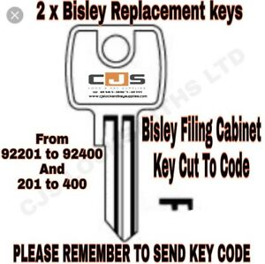 Bisley Filing Cabinet Keys Cut to Code Number 92201-92400 and 201-400