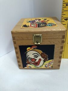 Vintage Clown in the Box, Celluloid & Wood, Herman Eichhorn, Made In Germany