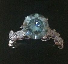 Solitaire 10k Solid White Gold Ring Filigree ~ 1.34Ct Ocean Blue Moissanite