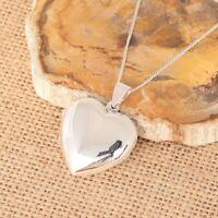 925 Sterling Silver Large Plain Heart Photo Locket Pendant Necklace Jewellery