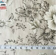 "Black Floral fabric, 153cm wide (60"") linen feel fabric. Cotton/polyester mix."