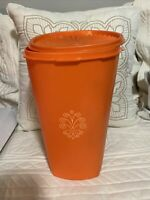 Vintage Tall Tupperware Servalier Canister Harvest Orange With Lid 16 cup.