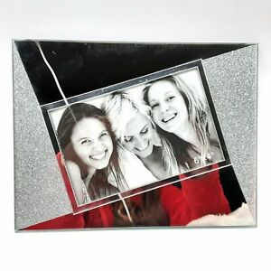 """Glittery Silver and Mirror Angled 4"""" x 6"""" Picture Frame Photo Holder New"""