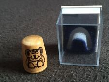 Pyrograved hand crafted wooden thimble in a box