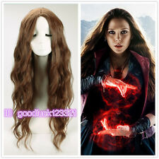Avengers: Age of Ultron Scarlet Witch long wavy curly brown no bang cosplay wig