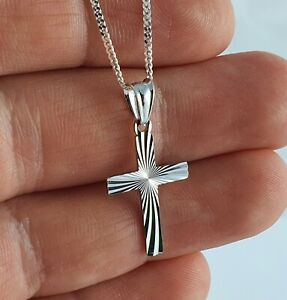 925 Sterling Silver CROSS quality CRUCIFIX  PENDANT Chain Necklace GIFT BOX