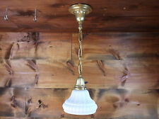 Antique Vtg Art Deco Brass Pendant Hubbell White Art Glass Shade Light Rewired