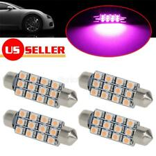4x Pink Purple 12SMD LED Interior Dome Map Lights Bulbs 561 562 For Chevy