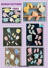 100+ VINTAGE BABY PATTERN~ hats bonnets mittens & booties + FREE PATTERNS
