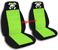 2 Front Black and Lime Green Girly Skull Seat Covers Universal Size