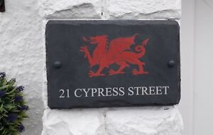 natural hand cut slate house sign with welsh dragon