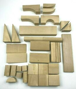 IKEA Natural Wood Building Blocks Original Bag 32 Blocks Different Sizes