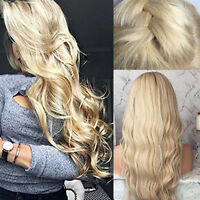 8A Real Peruvian Human Hair Wig Body Curly Wave Lace Front Wigs No Tangle Blonde
