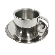 Double Layer Stainless Steel Coffee Mug Tea Cup and Saucer Set Cappuccino 4.5OZ