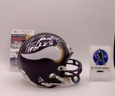 "Fran Tarkenton ""HOF 86"" Minnesota Vikings Auto Mini Helmet Riddell JSA"