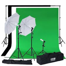 600 Watt Umbrella & Continuous Lighting Photo Studio Kit With Backdrops