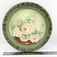 """Hand Painted Porcelain Plate Plaster Frame Cabinet Vintage Floral Signed 15"""""""