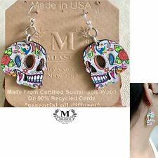 """Flower Child Color Sugar Skulls Wood Earrings """"Day of the Dead"""" (USA)~by Miasto"""