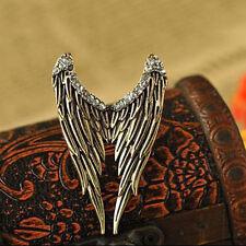 Retro Vintage Jewelry Rhinestone Angel Wings Ring Open Adjustable Unisex Fashion