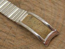 Vintage NOS stainless steel and ostrich watch band stretch bracelet Kreisler 16