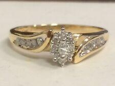 MQ DIAMOND CLUSTER 10KT YG ENGAGEMENT RING M3755
