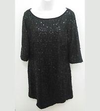 Nine West Womens Sz 14 Dress Black Sequin Circles Short Sleeve Evening B11