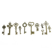 11Pcs Antique Vintage Pendant Heart Bow Lock Steampunk Old Look Skeleton Key Set