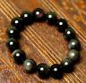 Natural Black Obsidian Rainbow Gemstone Round Beads Stretch Bracelet AAAA