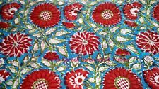 SGHT 445 Handmade Cotton Indian Natural Hand Block Print Sanganeri Fabric 5 Yard