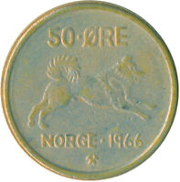 COIN / NORWAY / 50 ORE 1966  #WT6164