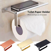 Bathroom Toilet Roll Paper Holder Wall Mount Phone Bracket Storage Shelf Rack