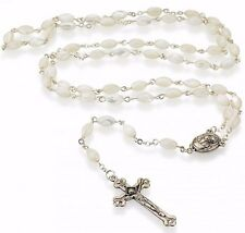 Fine mother of pearl Rosary from Jerusalem, including soil earth from Jerusalem