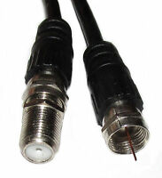 1m Satellite Extension Cable Lead F Type Screw Sky Digital Virgin Plug BLACK
