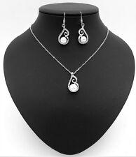 Fashion Imitation Pearl earrings + necklace set
