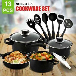 13pc  Pan Set Cookware Frying Non Stick Saucepan Pots