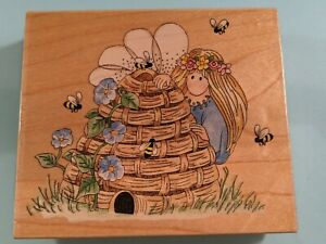Bumble Bee Keeper Fairy 70025 Flowers Stamps Happen Wood Mounted Rubber Stamp