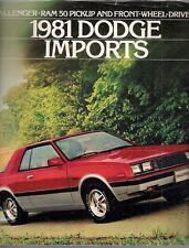 Dodge Colt Challenger Ram 50 1981 USA Market Sales Brochure Mirage Sapporo L200