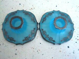 """Vintage Pair of Blue Glass W/Silver Accents Candle Holders 4"""" Diam. Base"""