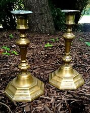 Pair of French silvered brass 18th century candlesticks with bobeches Huguenot