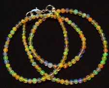 Natural Ethiopian Opal Super Electric Fire Play 3 to 3.5MM Round Beads Necklace