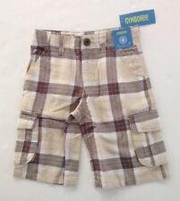 NWT Gymboree The Islands Size 6 Tan Plaid Linen Blend Cargo Shorts